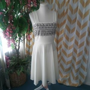 Alfred Shaheen Vintage Size S Ivory Brown dress
